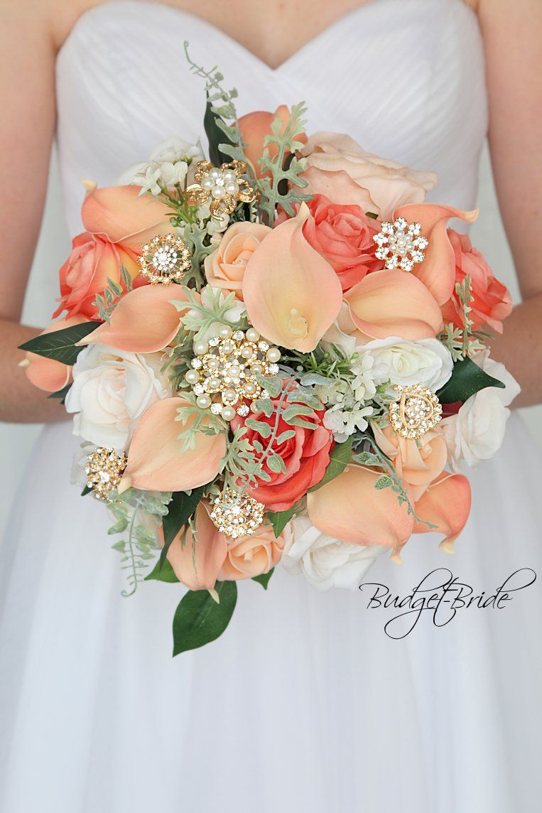 SMALL Beach Bridal Wedding Bouquet Ivory Peach Coral Aqua pool Blue