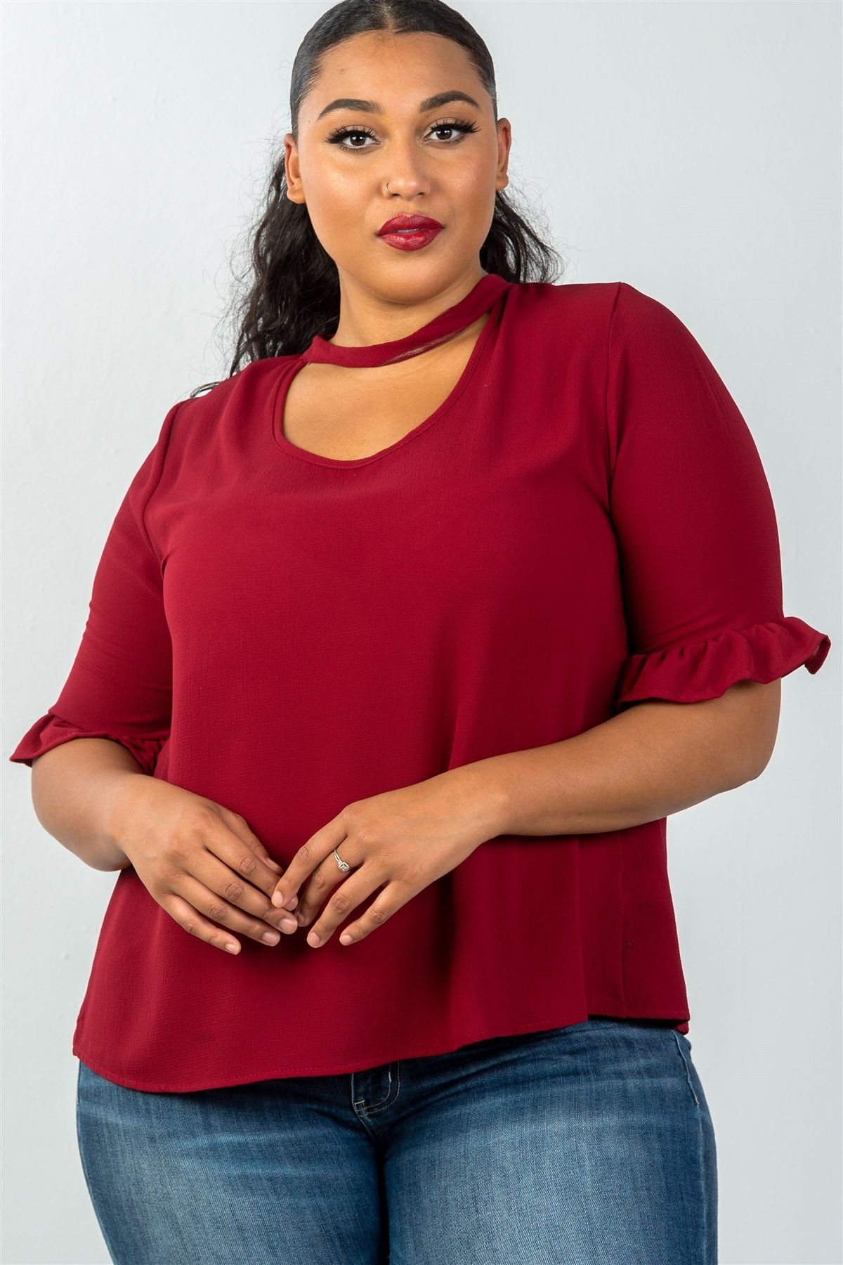 Ladies plus size 34 sleeve keyhole choker neck womens