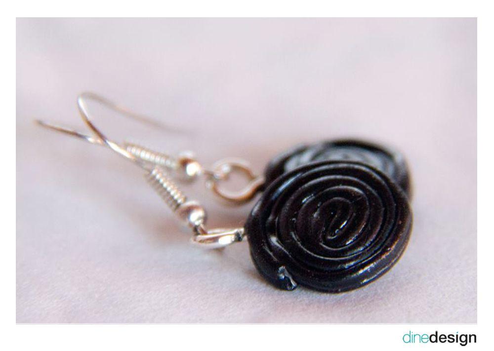 dinedesign - earrings - licorice/Lakritz/Haribo