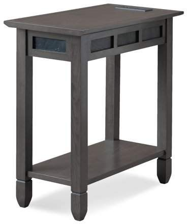 55f032c2301 Leick Smoke Grey Oak and Black Slate Chairside Table with AC USB Charging