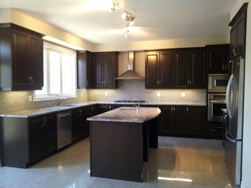 kitchen ideas dark cabinets modern. Dark Wood Kitchen Cabinets With Stainless Steel Appliances Images - Google Search | Kitchens And Granite Pinterest Cabinets, Ideas Modern K