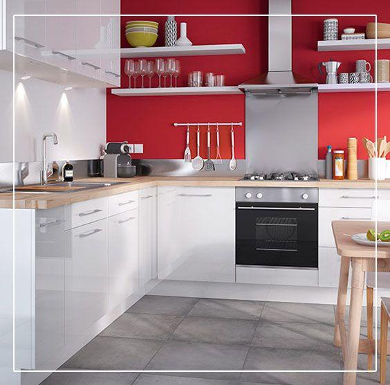 Ajoutez Du Pep S Dans Votre Cuisine Et Craquez Pour Du Rouge Avec Notre Peinture Multi Supports Couleur Coc Meuble Cuisine Cuisine Moderne Tableau Deco Cuisine