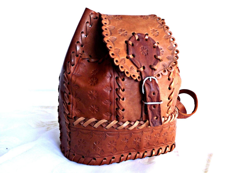 Hand Tooled Leather Backpack/Satchel, BOHO Leather Satchel, Retro ...