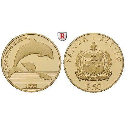 Westsamoa, 50 Tala 1995, 7,74 g fein, PP: 50 Tala 7,74 g fein, 1995. Bedrohte Tierwelt. Delphin. Friedb. 33; GOLD, Polierte Platte… #coins