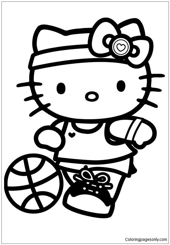 Sport Hello Kitty Coloring Page   Hello Kitty Coloring   Pinterest ...