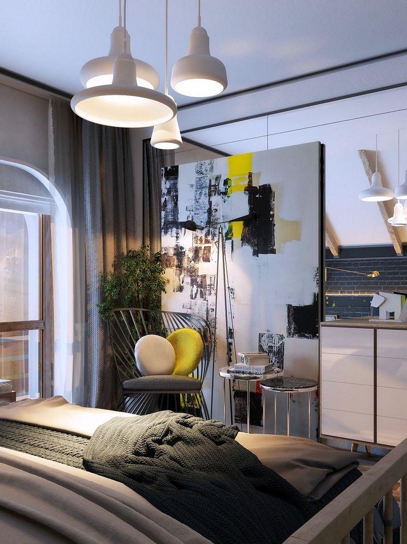 décoration chambre adulte avec grand tableau abstrait noir, blanc et ...
