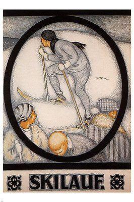 davos winter resorts vintage poster BURKHARD MANGOLD SWITZERLAND 1917 24X36