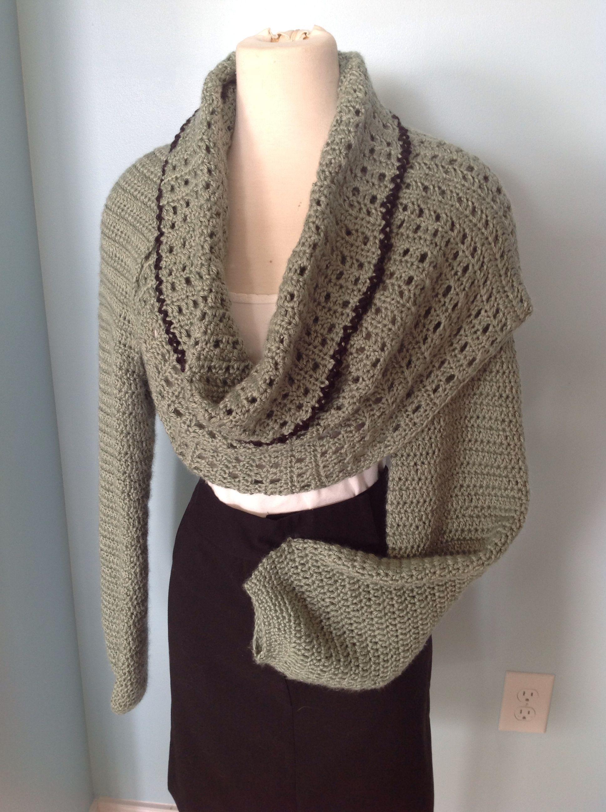 Crochet, long sleeve wrap cowl. $75