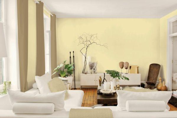 Farbpalette Wandfarben Wohnzimmer Wände Streichen Gelb Pastellfarben Tapete  Gelb, Tapeten Wohnzimmer, Wohnzimmer Braun,