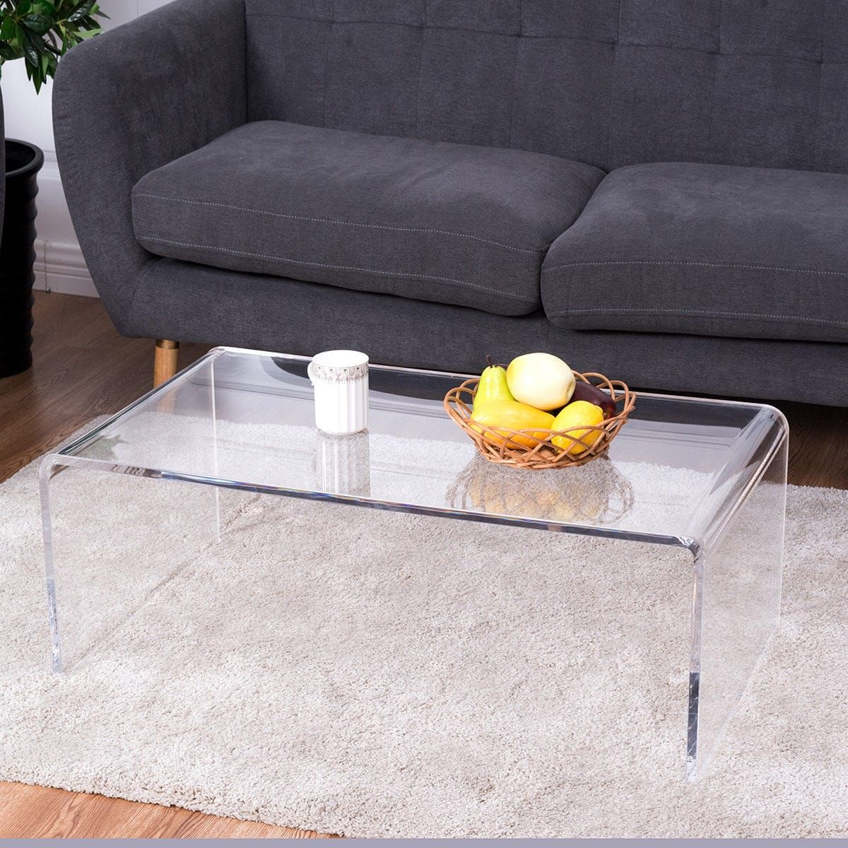 Costway Clear Acrylic Coffee Table Cocktail Waterfall 37 X 21 17 Inch Home Decor