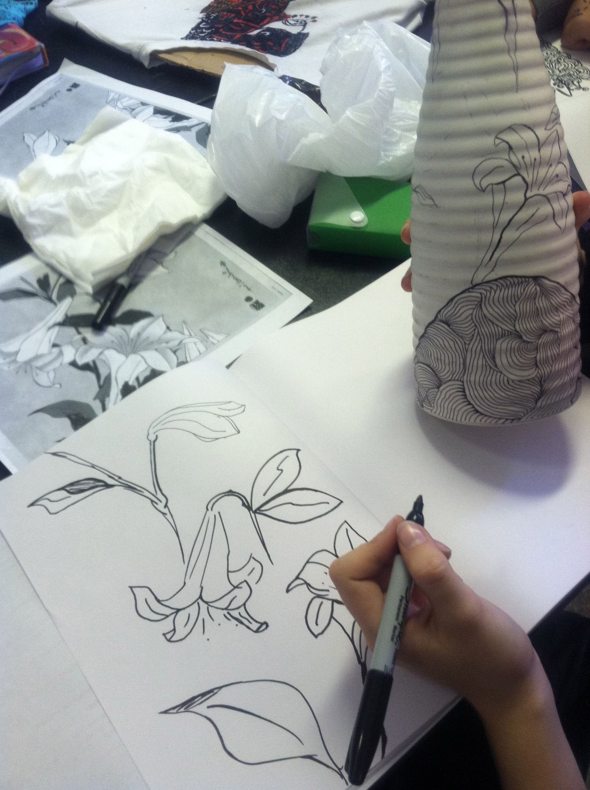 """Photo of 7th grade student incorporates the work of Hokusai into the  """"High-End Doodlin…"""