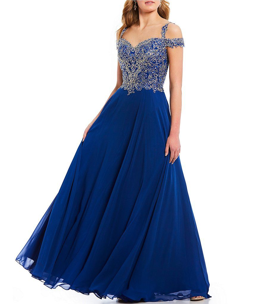 6e508671418 Coya Collection Off-The-Shoulder Applique Bodice Ballgown Junior Dresses