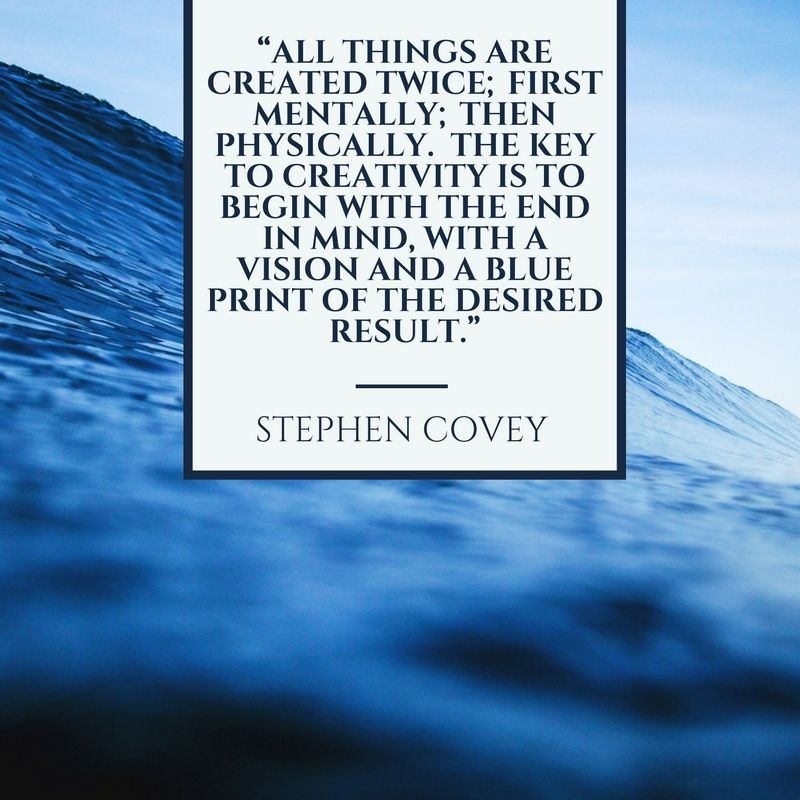 """""""All things are created twice; first mentally; then physically.  The key to creativity is to begin with the end in mind, with a vision, and a blueprint of the desired result."""" -Stephen Covey #creativity #BusunessResults #projects"""