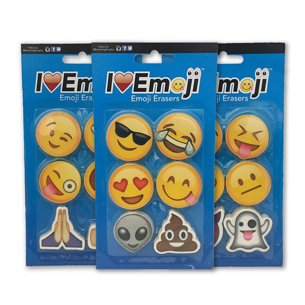 Fun Pencil Top Eraser Emoji Erasers for Kids 6 Pack Everything Emoji Set 2 I EM JI Pencil Top Erasers