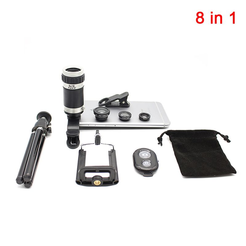 2017 8in1 Camera Lens Kit 8X Optical Zoom Telescope Lenses 3in1 Fisheye Wide Angle Macro Lentes With Clips Tripod For Cell Phone