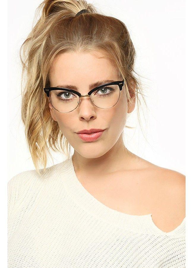 c298309c9f Evelyn Metal Frame Cat Eye Clear Glasses