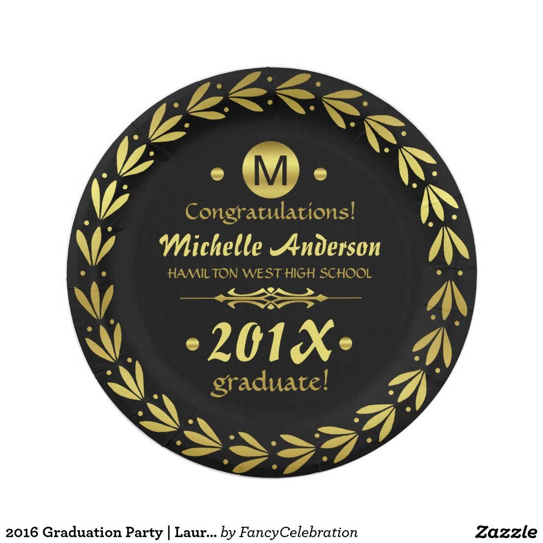 2018 graduation party laurel wreath gold black paper plate