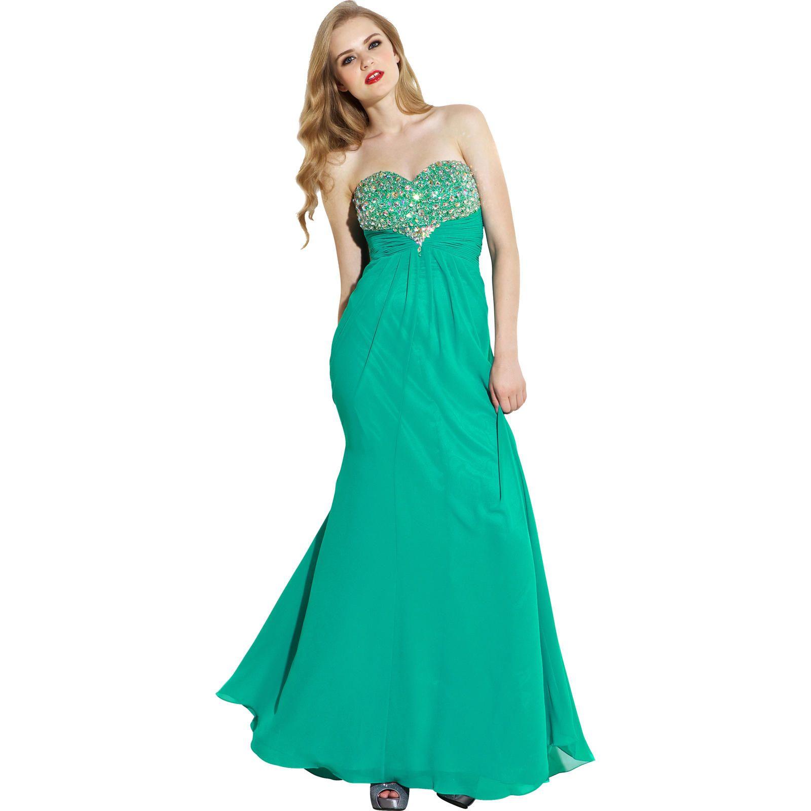 PacificPlex Strapless Beaded Chiffon Formal Gown Goddess Prom Dress ...