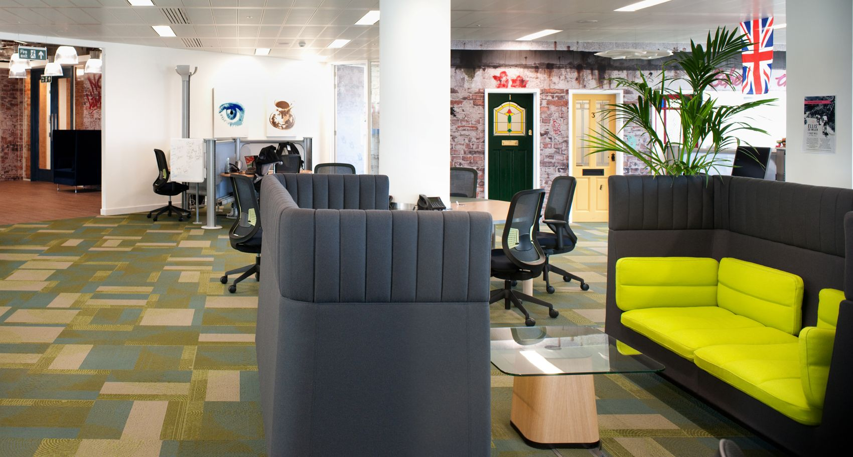 coolest office designs hot desk our office design for splunk was recently voted the coolest in uk these high backed booths offer space some independent work or an inspirational breakout and fun workplace