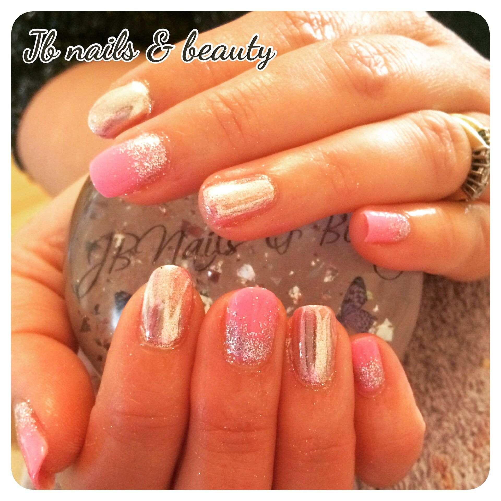 Pink Chrome Gel Polish On Natural Nails With Images Natural Nails My Nails Nails