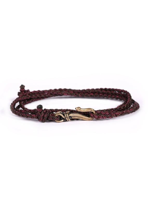 Rope bracelet for Men / Brown and burgundy braided ropes cord with bronze hook clasp / Men's Jewelry Gifts / Stacking rope bracelet for men #braidsformen