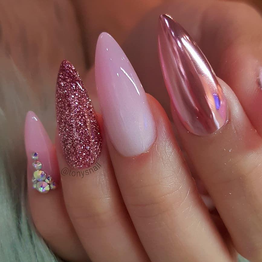 Fresh Set Rose Gold Yay Or Nay Acrylic Color Number 2 52 4 New Chrome Holo Chrome Www Designedbytonyly C Pink Nails Chrome Nails Glitter Nails Diy