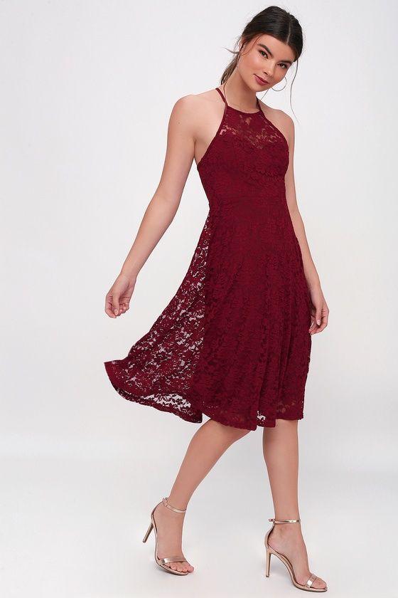 Lulus My Kingdom Burgundy Lace Midi Dress Size X Small