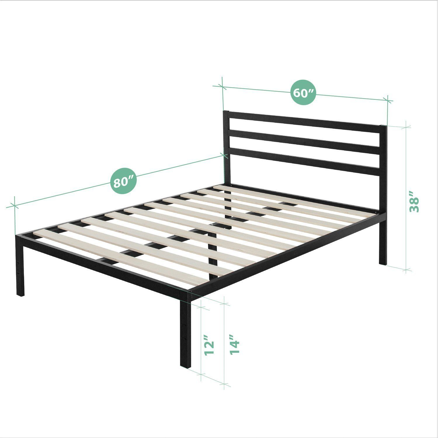 Amazonsmile Zinus Modern Studio 14 Inch Platform 1500h Metal Bed Frame Mattress Foundation Wooden Slat Support With Headboard Queen Metal Platform Bed Metal Beds Bed Frame Headboard