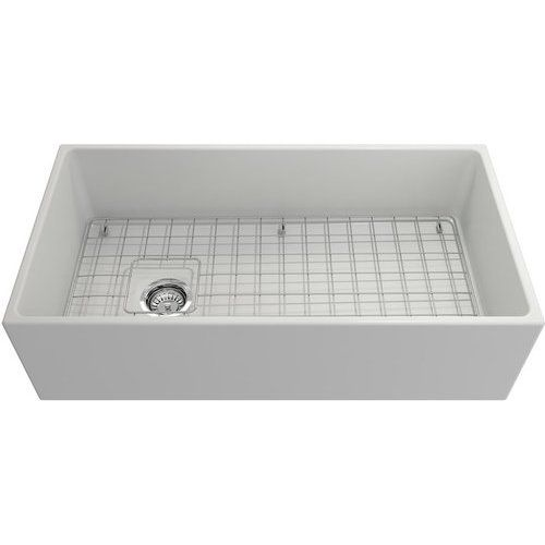 Bocchi 36 Inch Contempo Apron Fireclay Single Bowl Kitchen Sink With Bottom Grid And Strainer Matte White 1354 002 0120 Single Bowl Kitchen Sink Sink Fireclay Farmhouse Sink