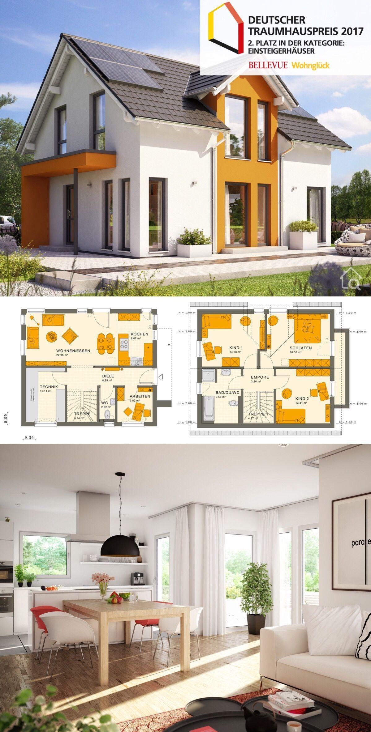 Fertighaus modern mit Satteldach & Zwerchgiebel, 5 Zimmer