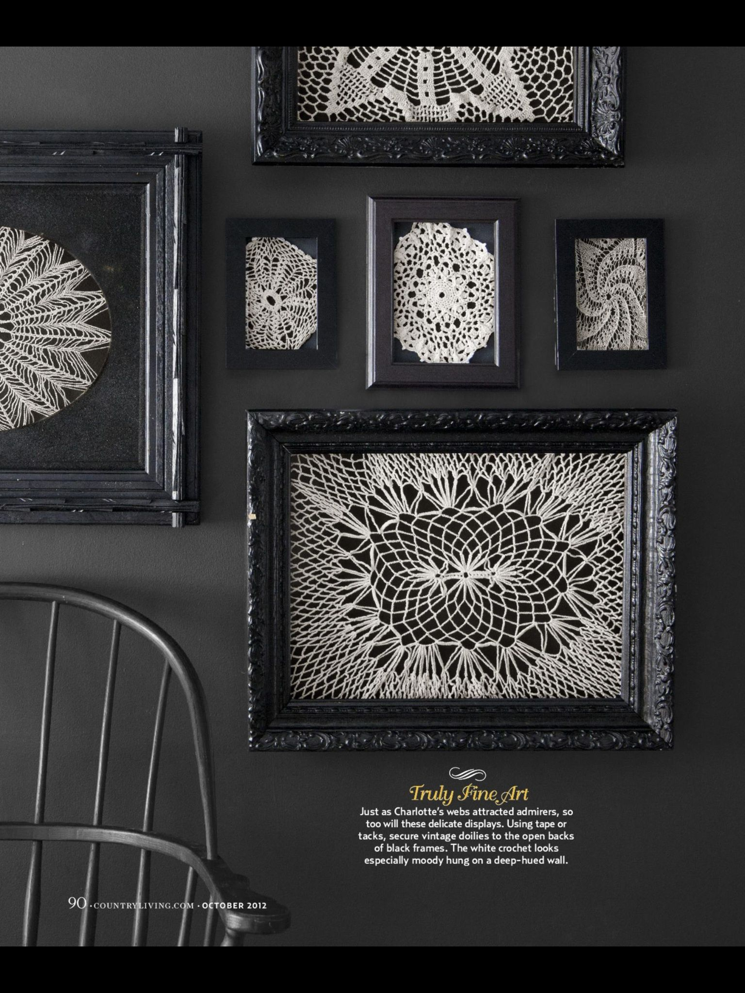 Interesting way to hang doilies crafts pinterest craft using tape or tacks secure vintage doilies to the open backs of black frames do it yourself halloween decorations country living solutioingenieria Gallery