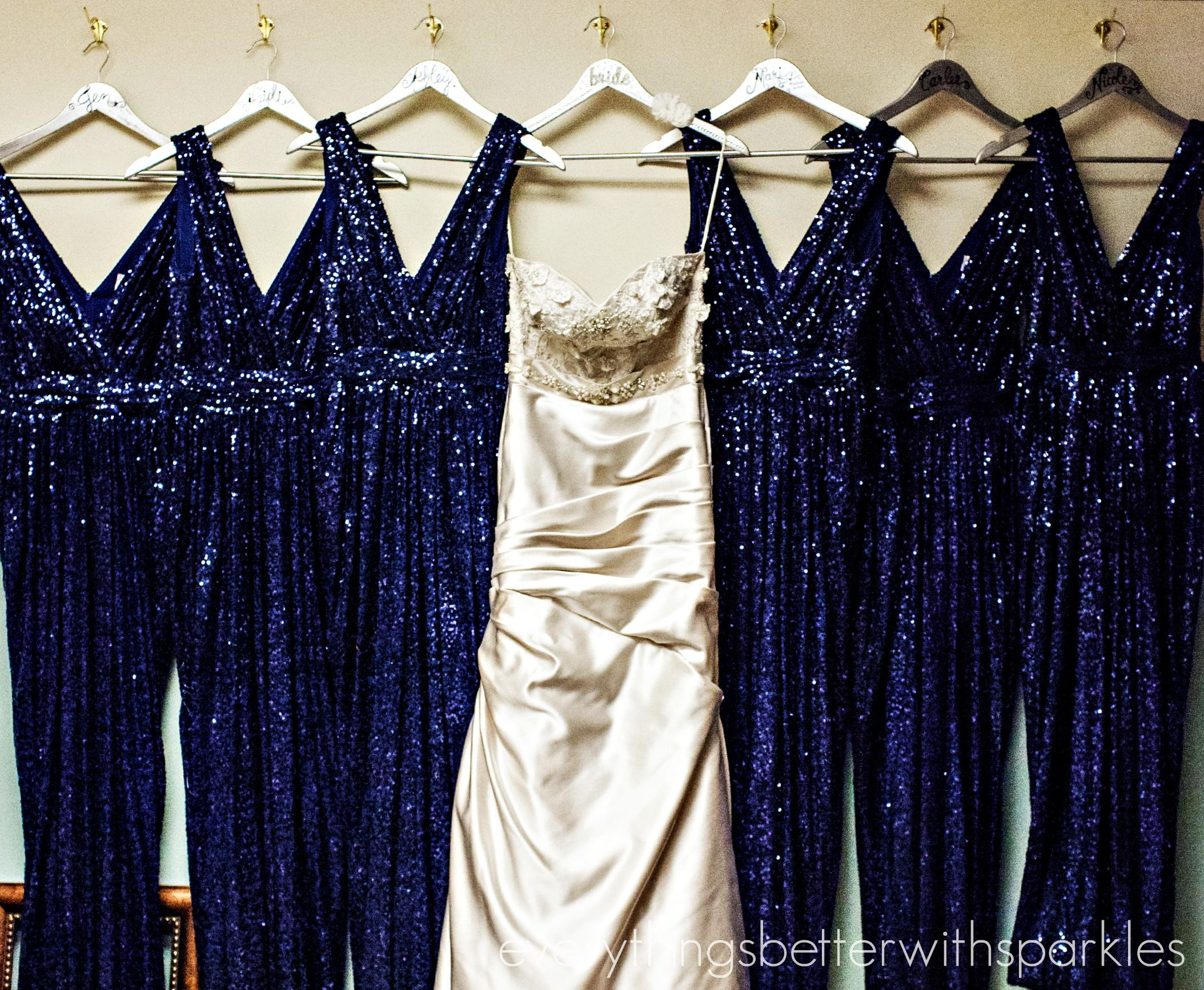 Dresses Wedding Dress Surrounded By Bridesmaid Dresses Diy