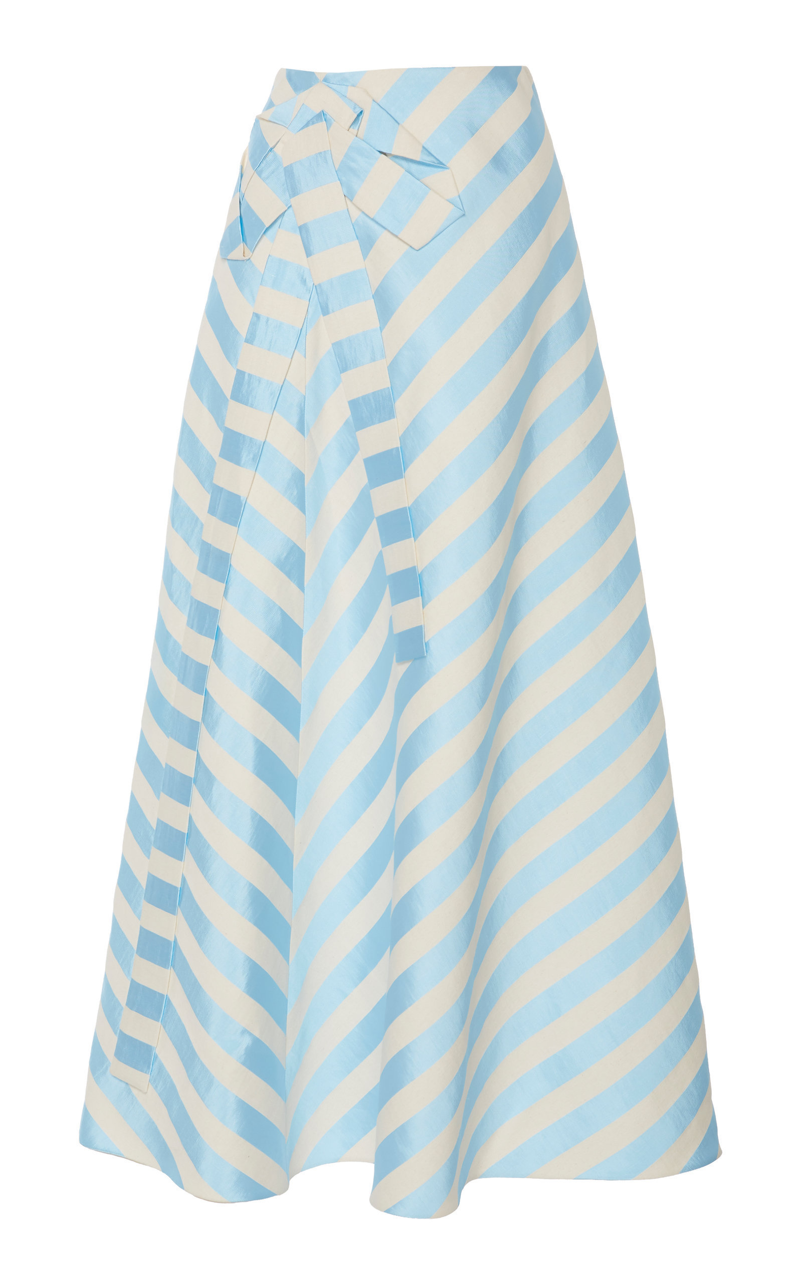 38446a7111 Bow-Embellished Striped Linen-Blend Midi Skirt by DELPOZO Now Available on  Moda Operandi