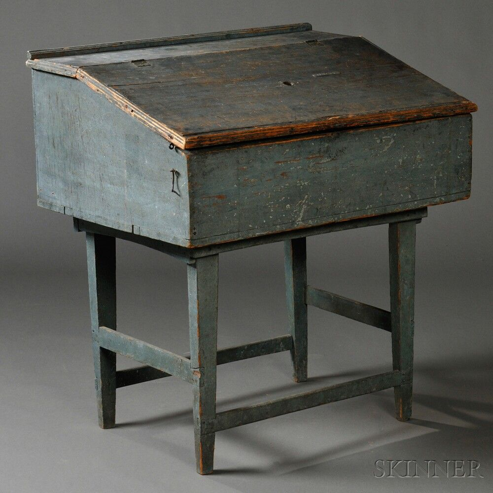 Blue Painted Desk Box On Stand Painting Antique Furniture Primitive Furniture Painted Desk