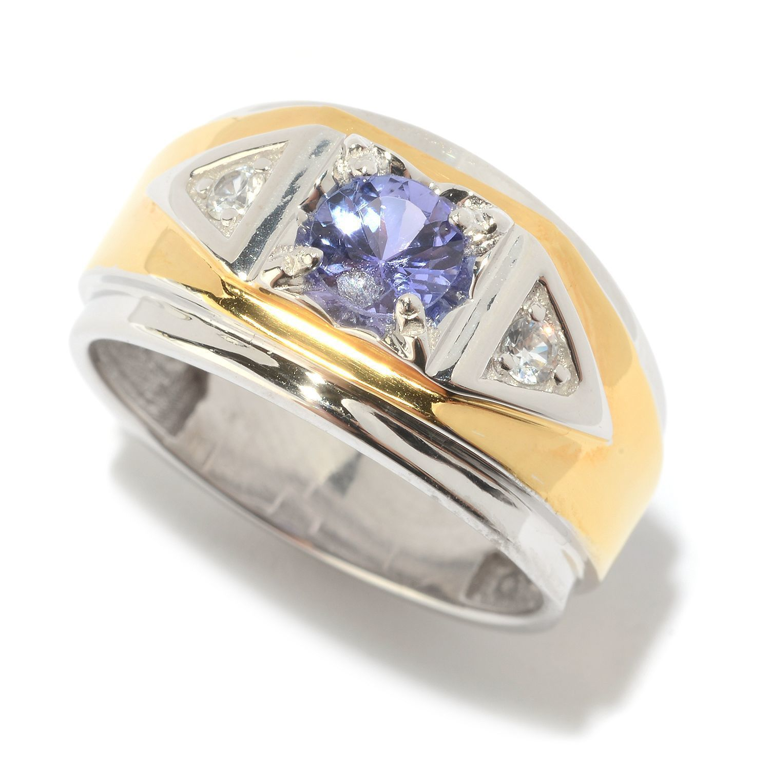gold solid ctw mens and image tanzanite white natural diamond ring