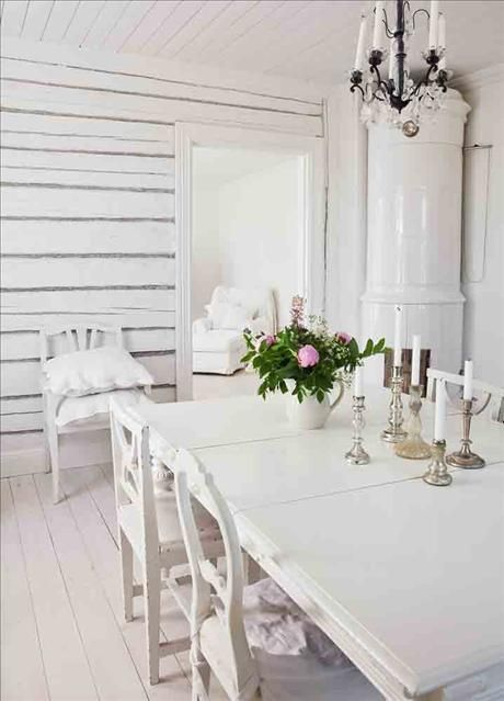 White dining room...a little shabby.
