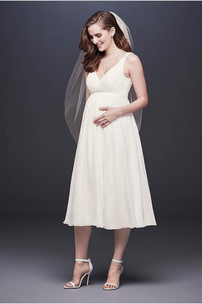 Tea-Length Chiffon V-Neck Maternity Wedding Dress | David ...
