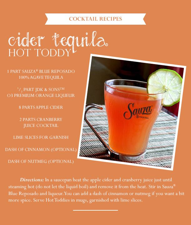 Fall signature drinks cider tequila hot toddy for Fall cocktail ideas
