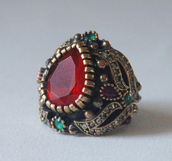 653fb3d972d5 Declaración Anillo turco tradicional otomano Anillo de plata 925 Esmeralda  Joya de rubíes roja de la piedra preciosa de la vendimia StyleRing