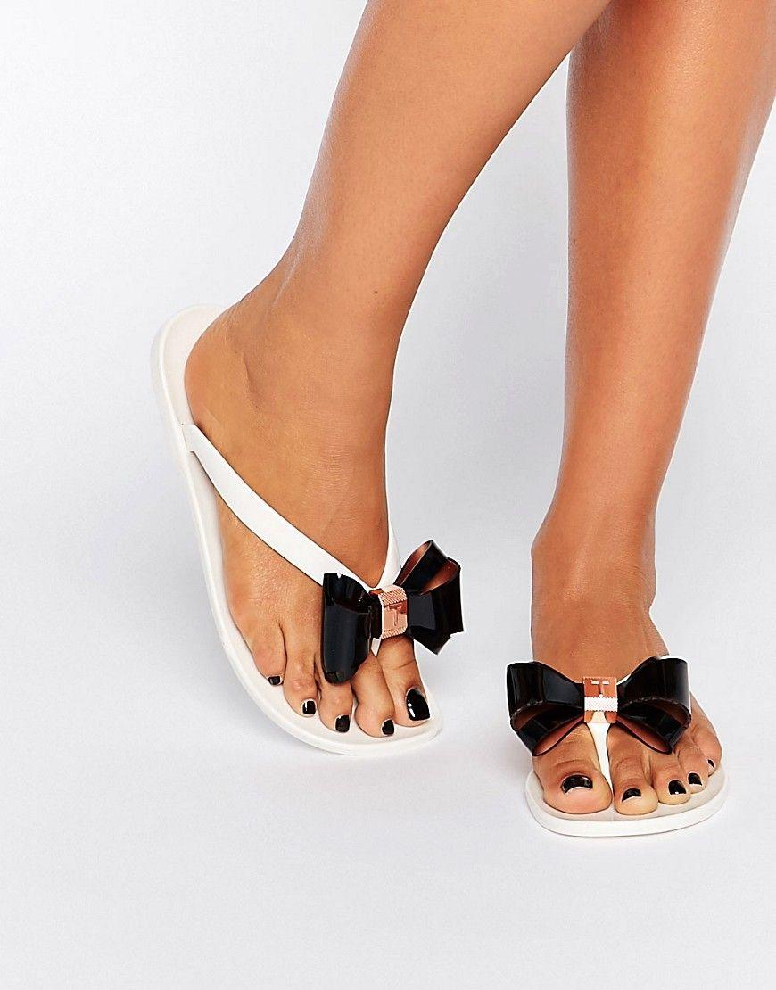 64f7343ae928 Ted Baker Rafeek Bow Cream Flip Flops - Cream