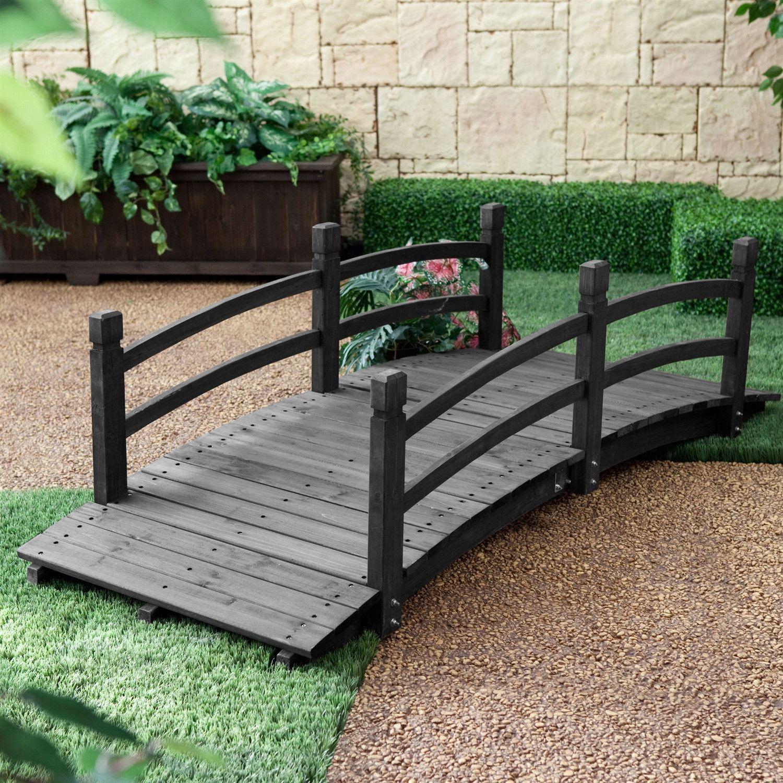 6 Ft Outdoor Wooden Garden Bridge With Handrails In Dark 400 x 300