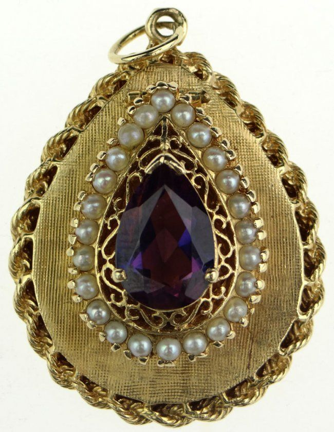 Vintage Lady's Pear Shape Amethyst, Seed Pearl And 14k Yellow Gold Locket