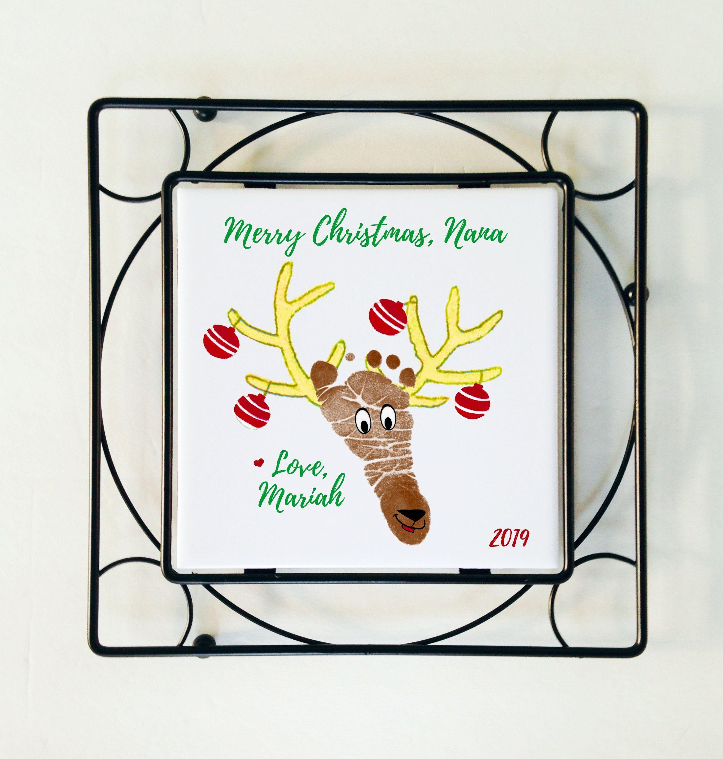 Holiday Footprint and Handprint Ceramic Tile w/Black Wrought Iron Frame; Reindeer, Christmas Tree, Mistletoe Footprints, Try R Print Kits! #mistletoesfootprintcraft