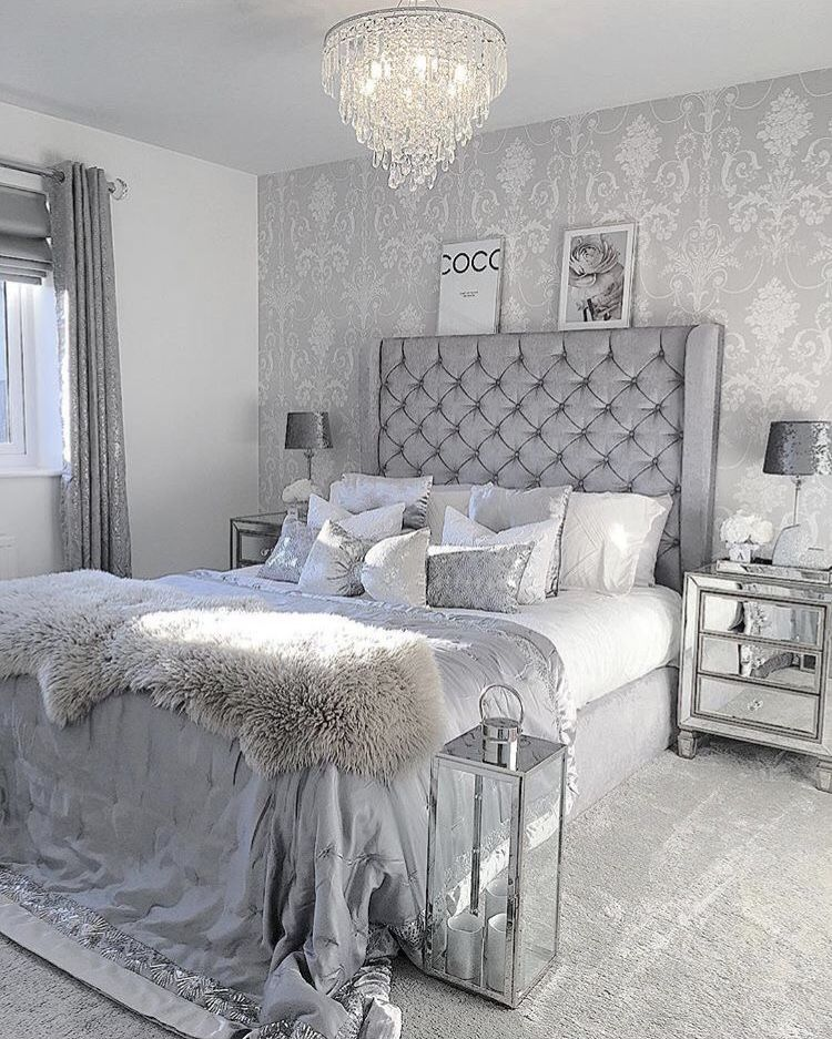 Pin By L Oreal On Room Inspo Silver Bedroom Cozy Home Decorating Glam Bedroom Decor