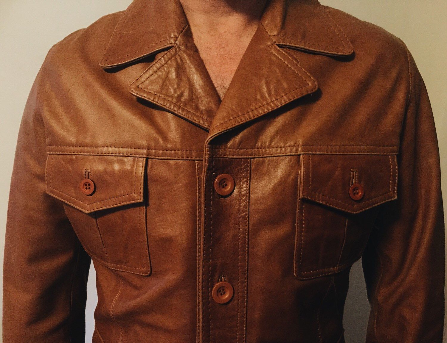 Men's '70sstyle Brown Leather Jacket Brown leather