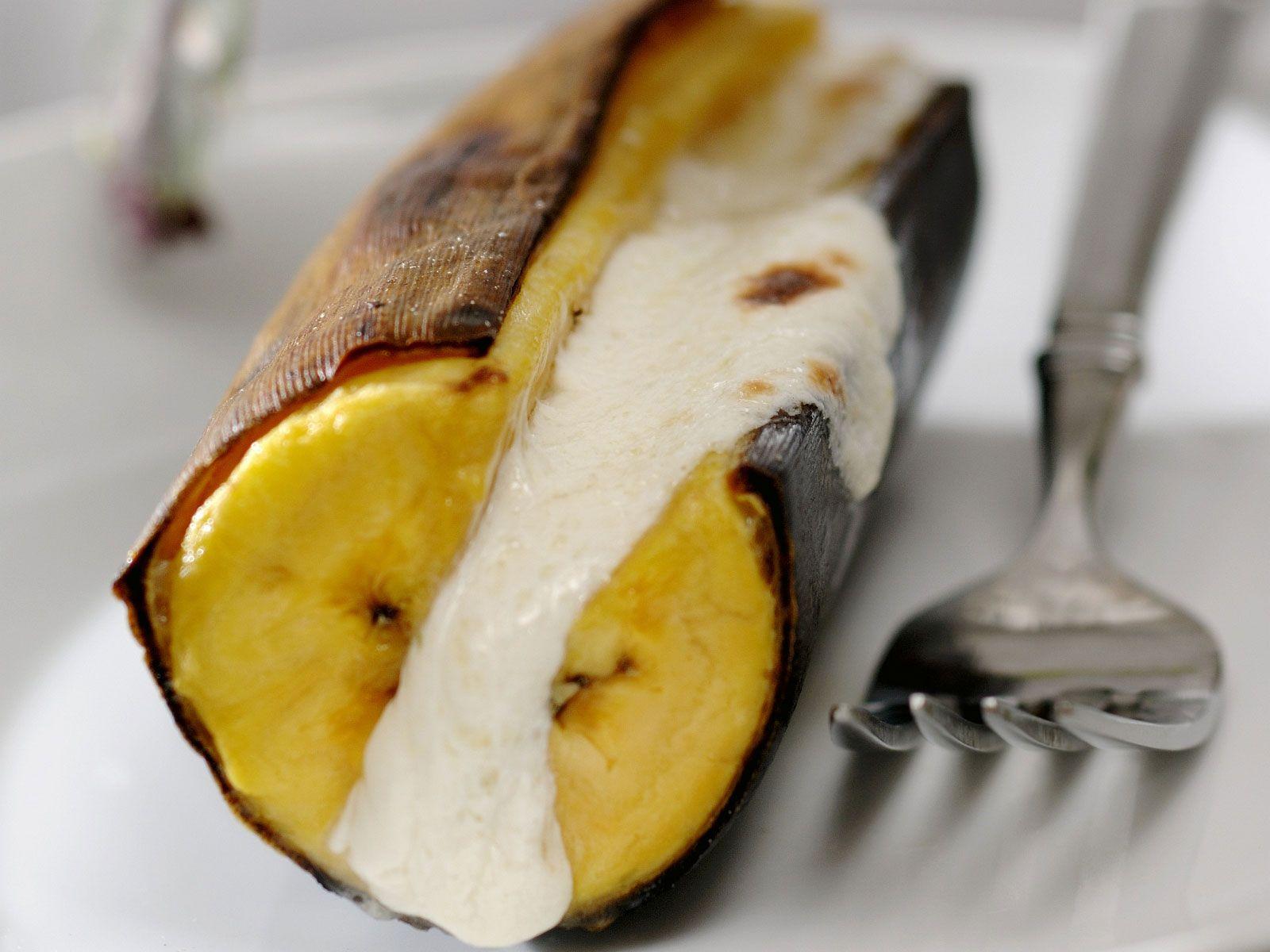 gebackene banane mit frischk se gef llt rezept. Black Bedroom Furniture Sets. Home Design Ideas