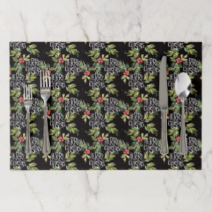 Christmas Merry Christmas - Holly Black Pattern Paper Placemat