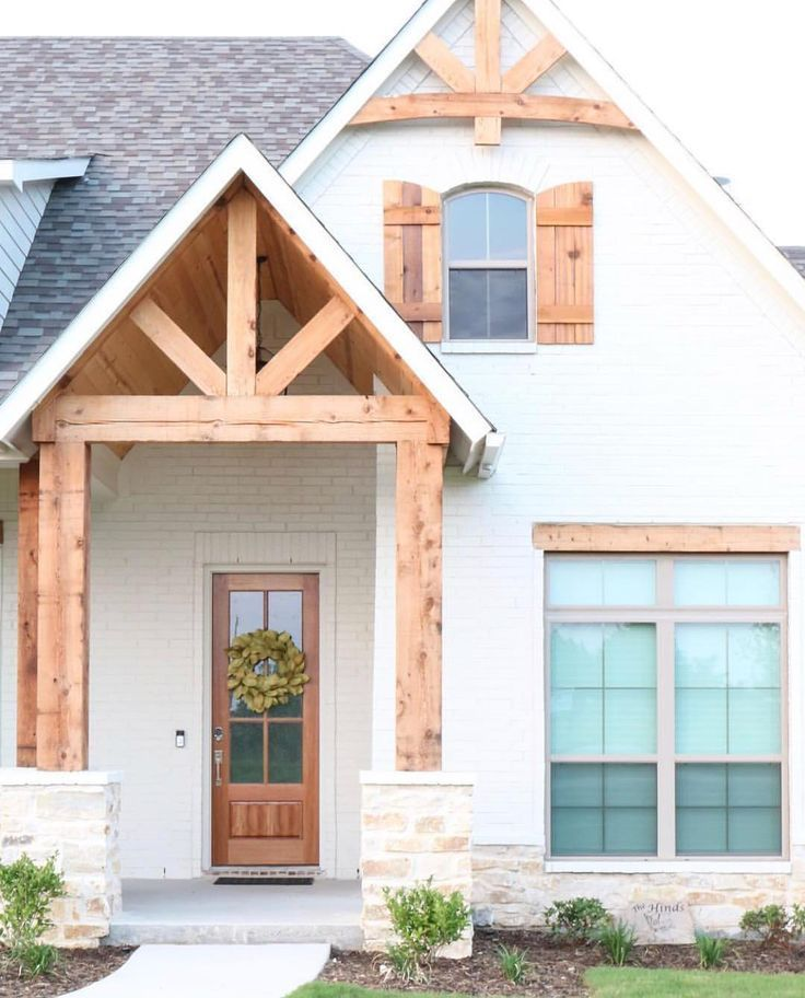 White House With Cedar Shutters : white, house, cedar, shutters, Beautiful, White, Brick, Cedar, Pillars, Limestone, Accents, Cottage, House, Exterior,, Modern, Farmhouse, Designs, Exterior
