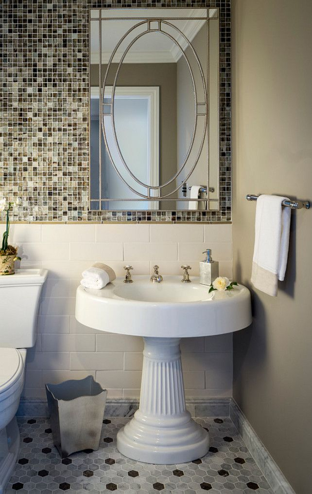 Pedestal Sink Bathroom Ideas With Fluted Base Gl Mosaic Accent Wall Custom Hexagon Flooring In Cararra And Lagos Azul
