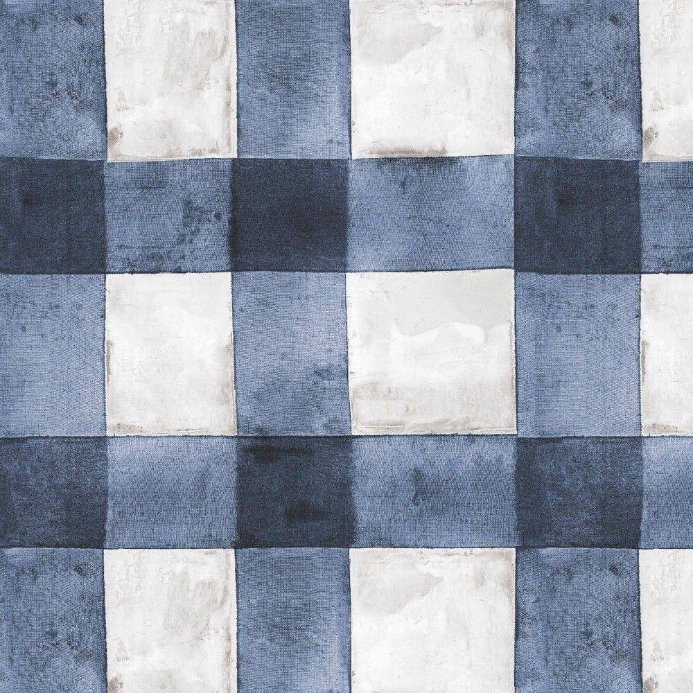 Roommates Buffalo Plaid Peel Stick Wallpaper Blue White In 2021 Peel And Stick Wallpaper Plaid Wallpaper Vinyl Wallpaper